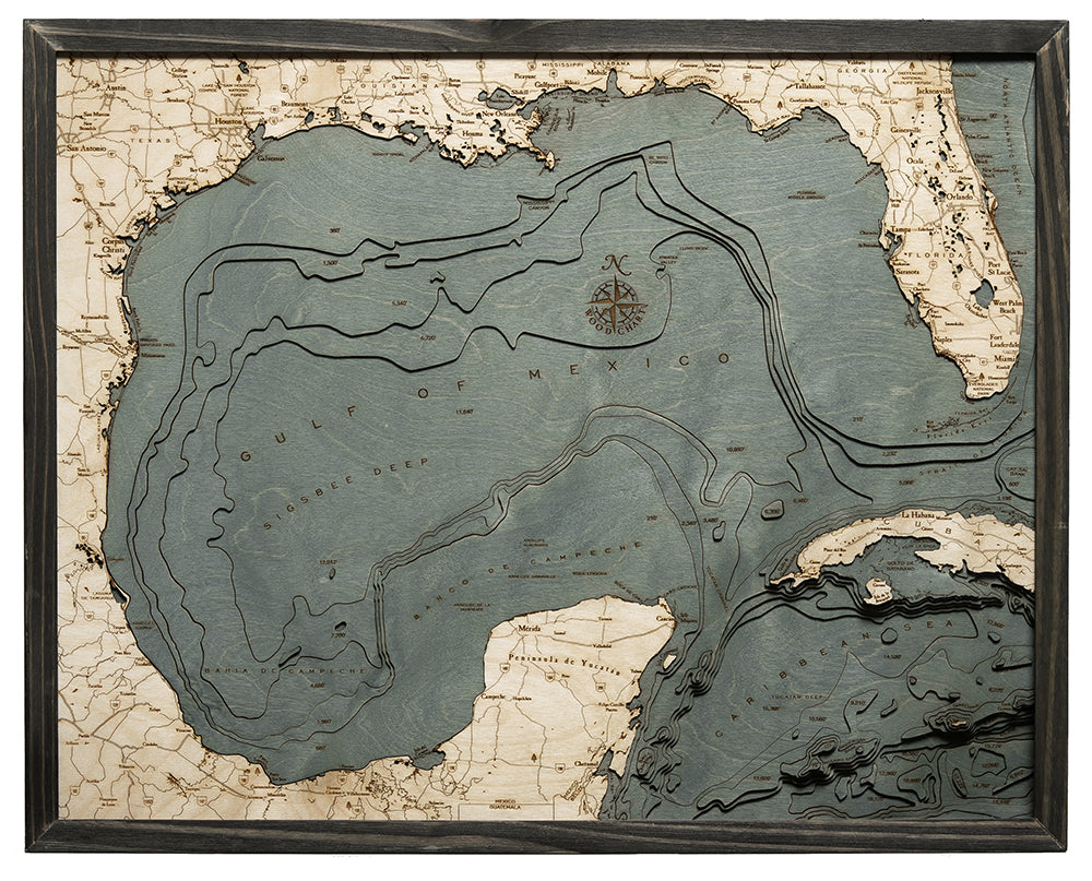 Gulf Of Mexico Wood Chart Map