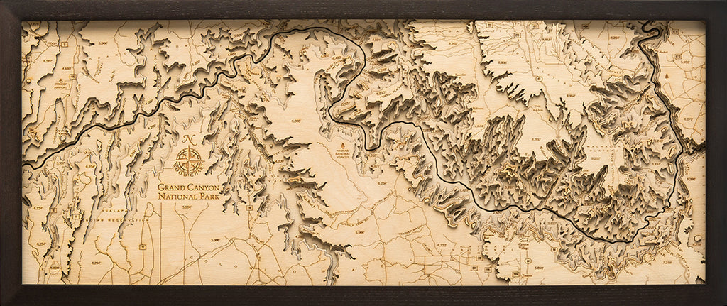 Grand Canyon Wood Chart Map