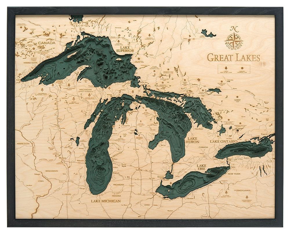 Great Lakes Large Wood Chart Map