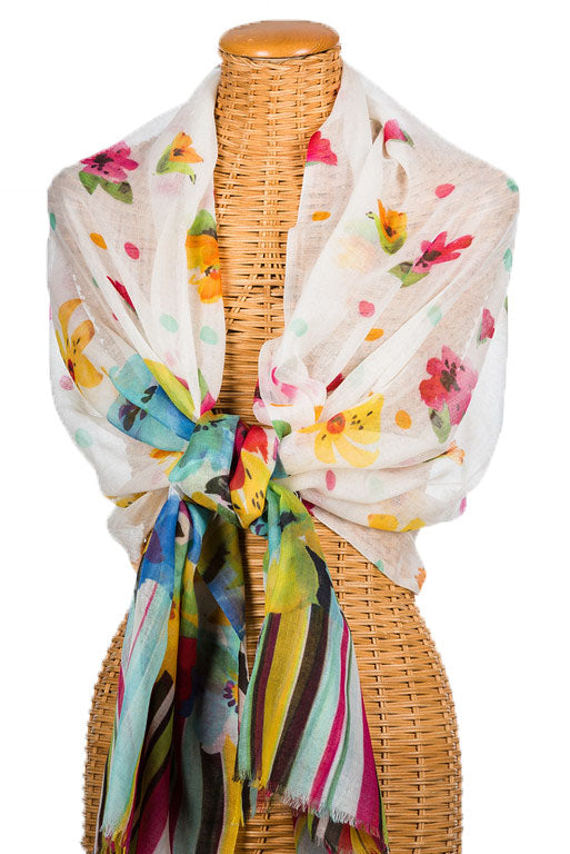 White, Pink, Yellow & Turquoise Sheer Merino Wool Garden Party Scarf