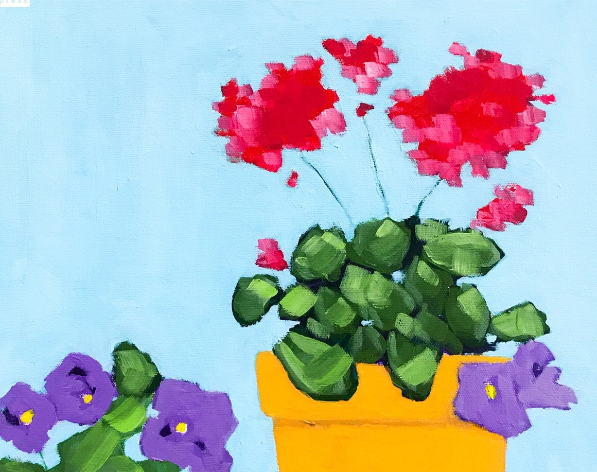 Geranium and Friends, Original Painting by Butch McCarthy