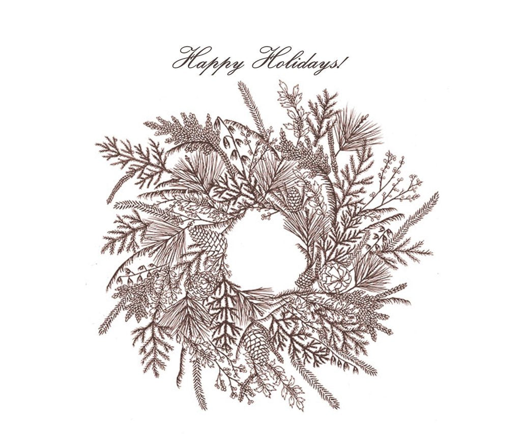Boxed Note Cards, Sepia Wreath, Happy Holidays