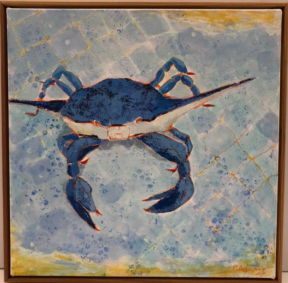 Blue Crab I, Original Painting by Phyllis Dobbyn Adams