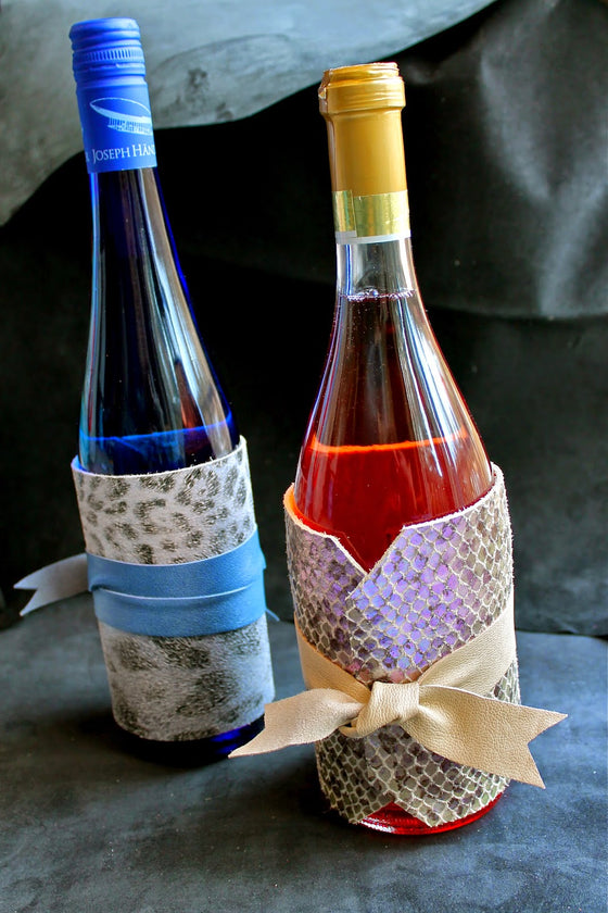 Leather Wine Wraps by Cathleen Bradley
