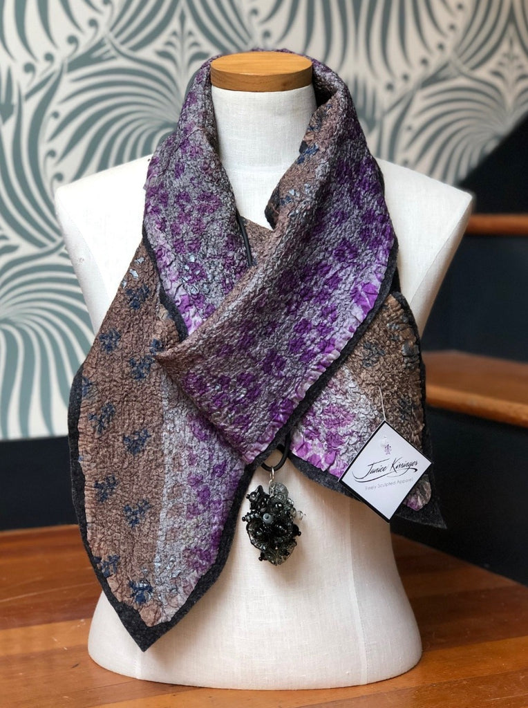 Lavendar Felted Wool and Silk Scarf