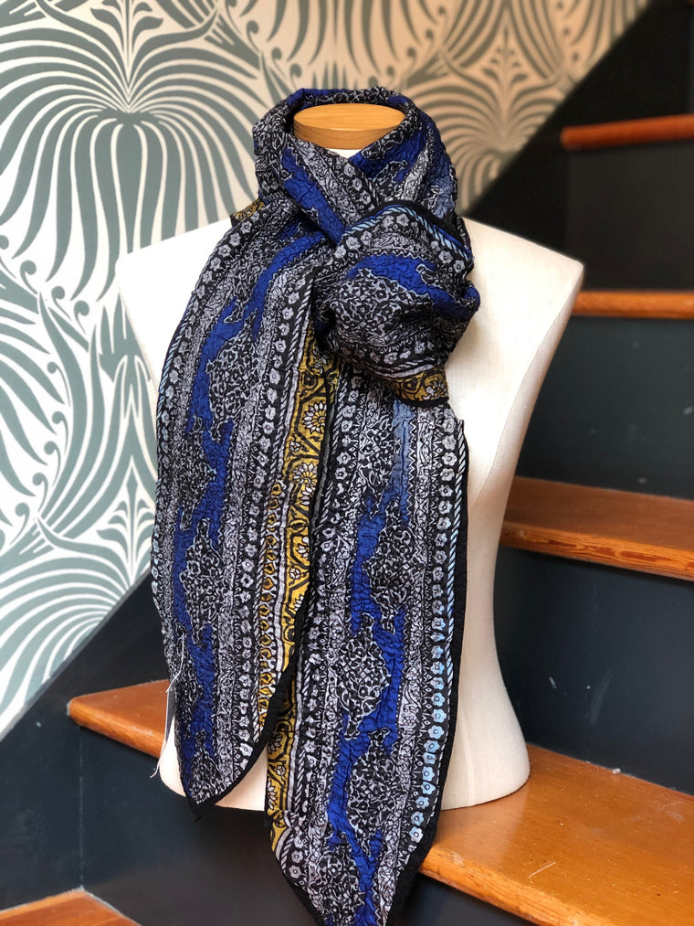 Blue/Black Felted Wool and Silk Scarf