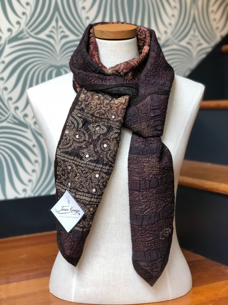 Bandhani Brown Felted Wool and Silk Scarf