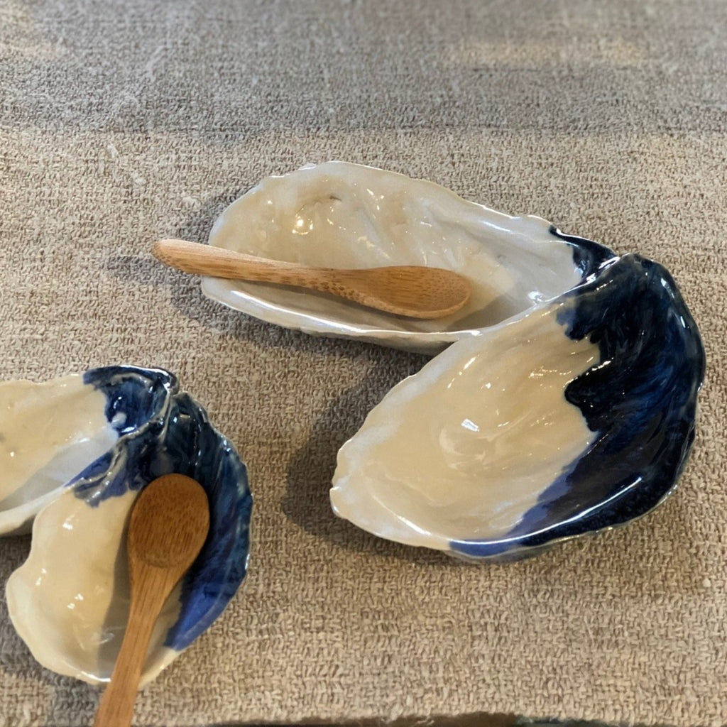 Large Oyster Shaped Salt and Pepper Dish with Spoon