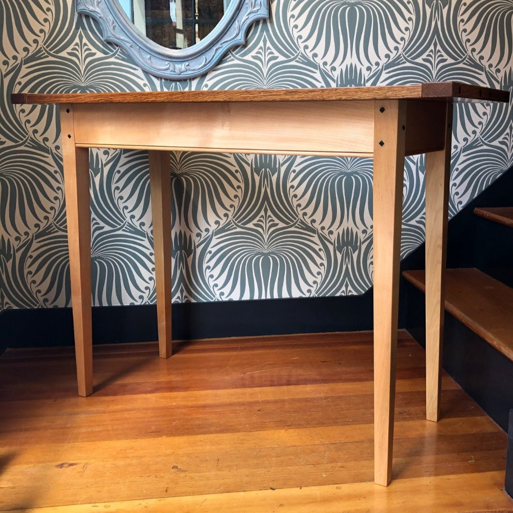 White Oak and Maple Sofa Table