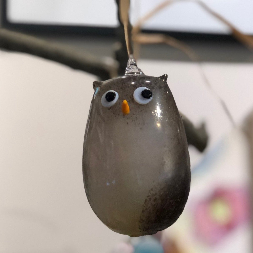Hand Blown Glass Animal Ornament - Owl