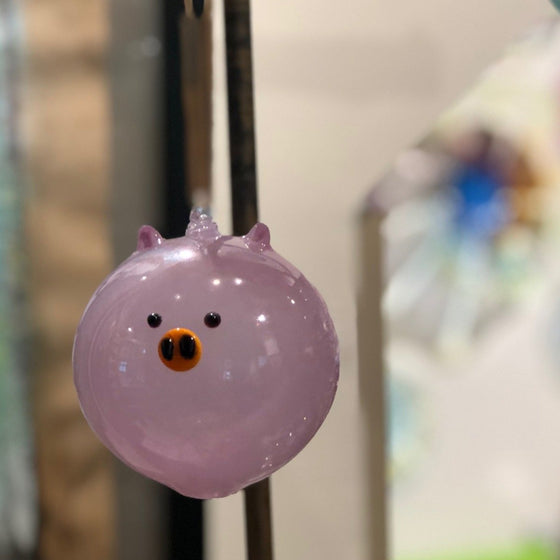 Hand Blown Glass Animal Ornament - Pig