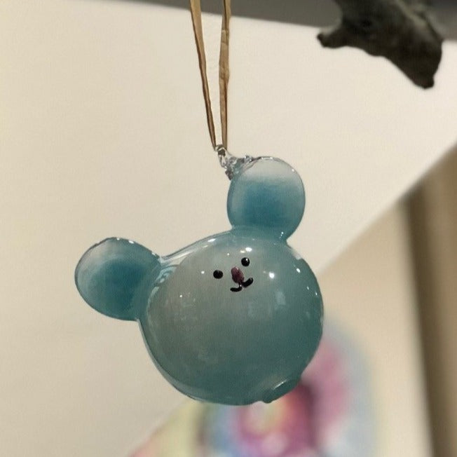 Hand Blown Glass Animal Ornament - Mouse Bear