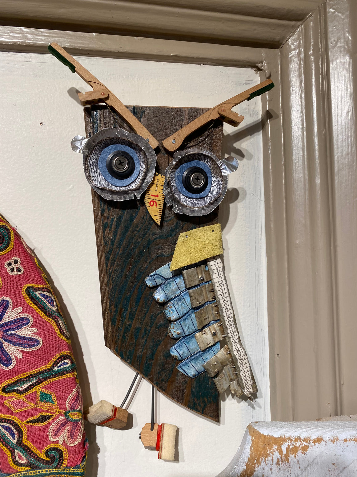 Large wooden owl wall hanging
