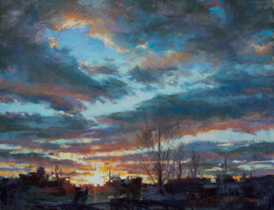South Main Silhouette, Original Pastel by Poirier-Mozzone