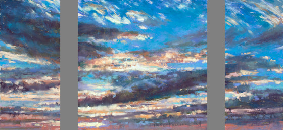 Cloud Triptych I, Original Pastel by Poirier-Mozzone