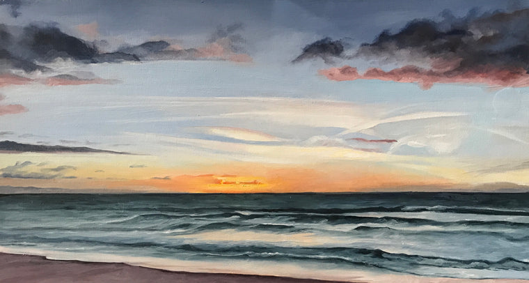 """Imperial Beach Sunset #4"", Original Oil Painting by Christy Gunnels LaGue"