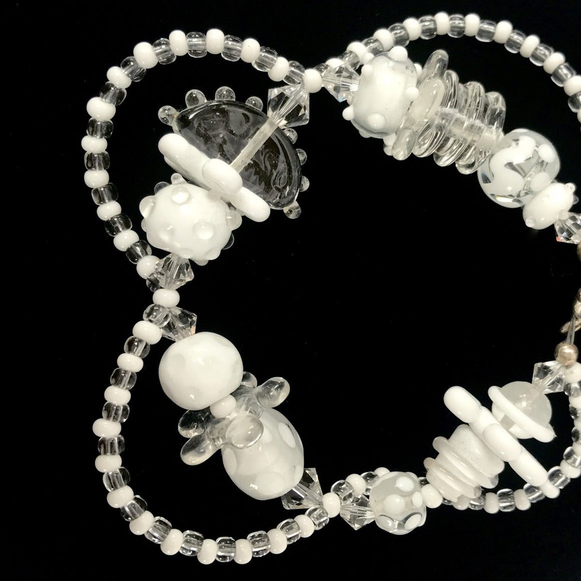 Clear and White DNA Bracelet by Jasmine Keane