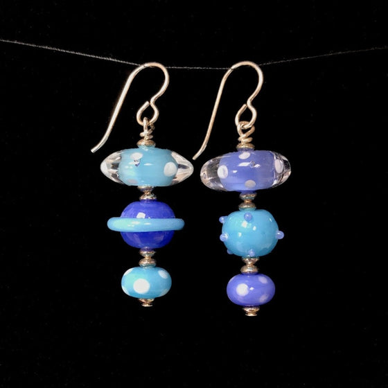 Triple Glass Bead Drop Earrings