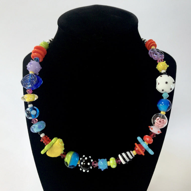 Multi Color Glass Bead Necklace by Jasmine Keane