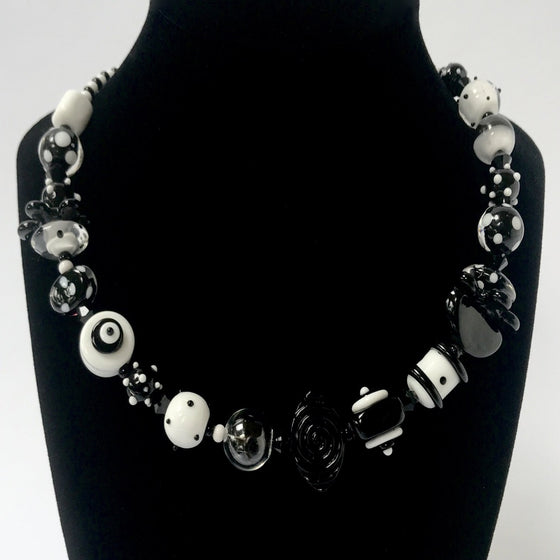 Black and White Glass Bead Necklace by Jasmine Keane