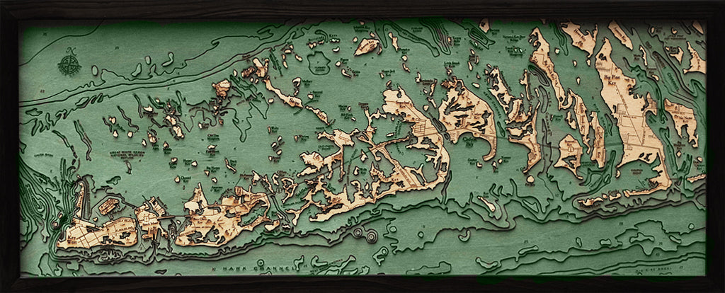 Florida Keys Wood Chart Map