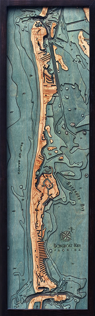 Longboat Key Wood Chart Map