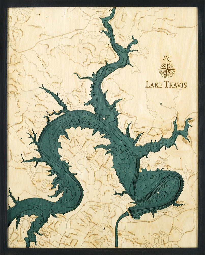 Lake Travis Wood Chart Map