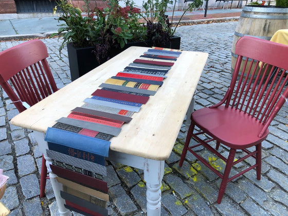 "Leather Table Runner, Reds, by Cathleen ""CB"" Bradley"