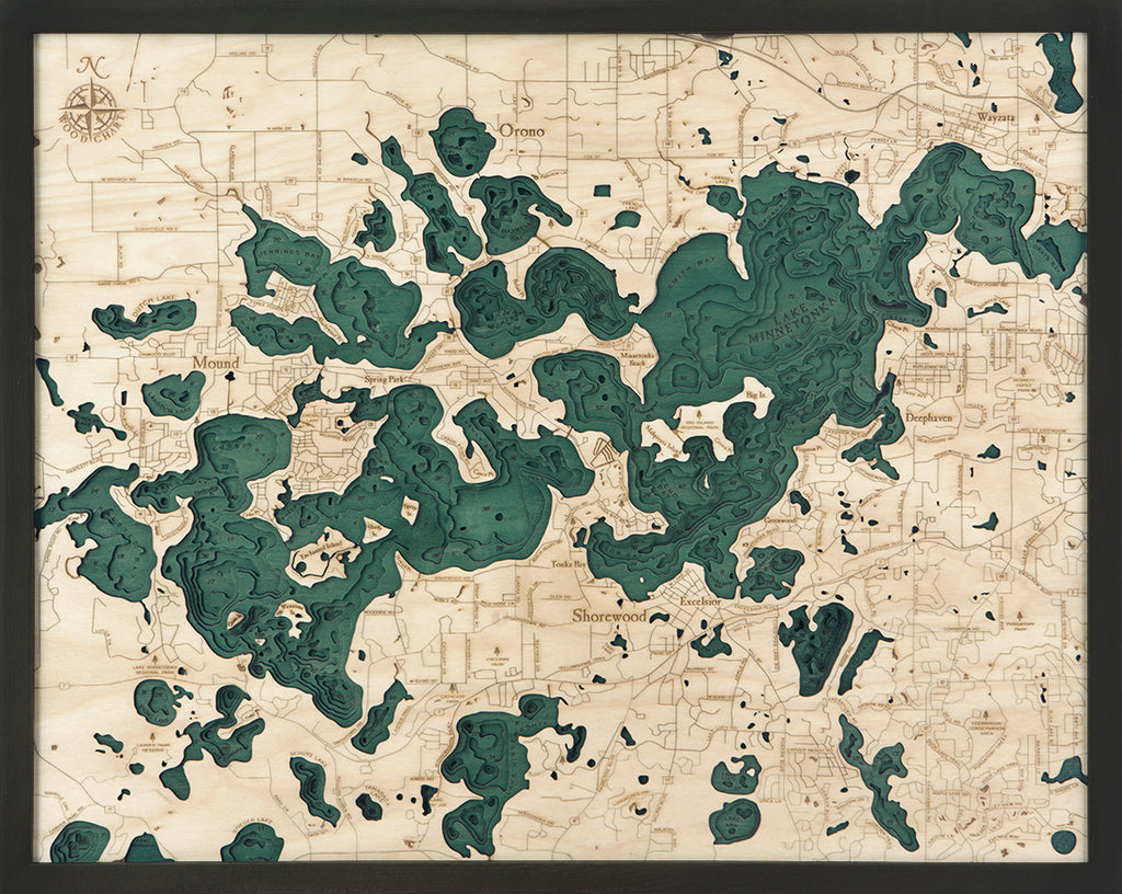 Lake Minnetonka Wood Chart Map