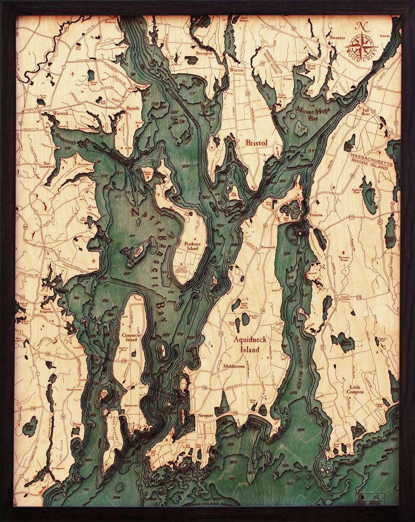 Narragansett Bay Wood Chart Map