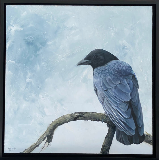 Crow Goes Hunting, Original Oil Painting