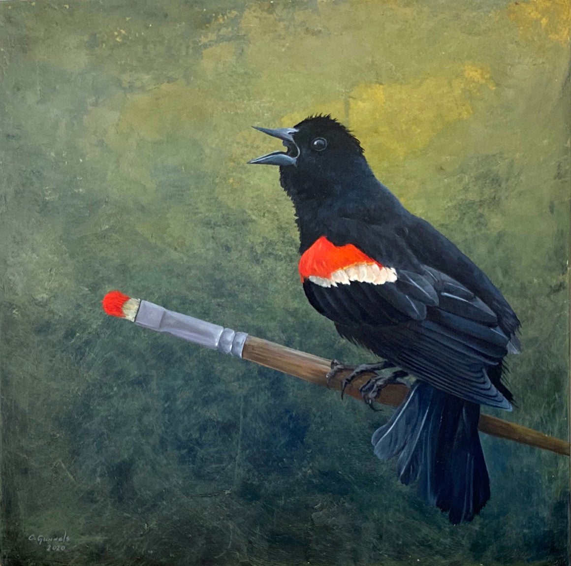 Redwinged Blackbird, Original Oil Painting