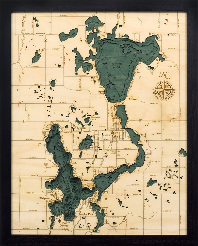 Lake Okoboji Wood Chart Map