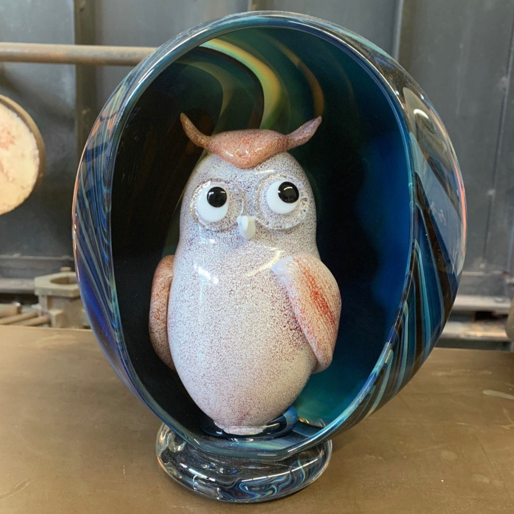 Hand Blown Glass Owl in a Bowl