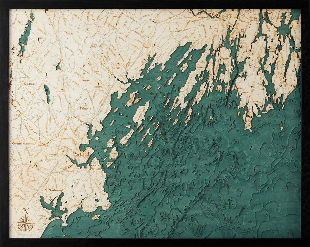 Portland, Maine Wood Chart Map