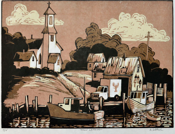 Town Landing, a Woodcut by artist David Witbeck, sepia colored