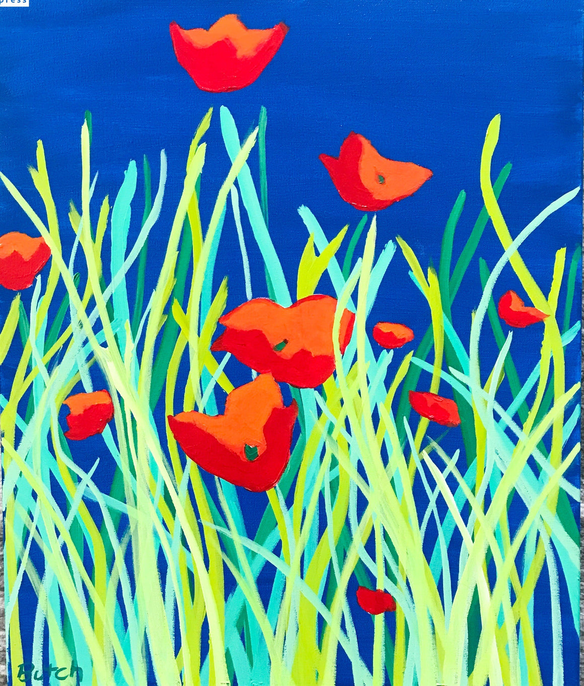 Ten Poppies, Original Painting by Butch McCarthy