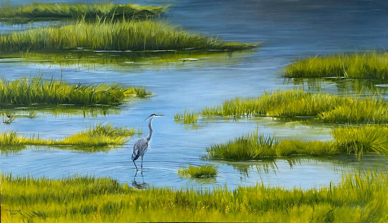 The Beguiling Heron, original oil painting
