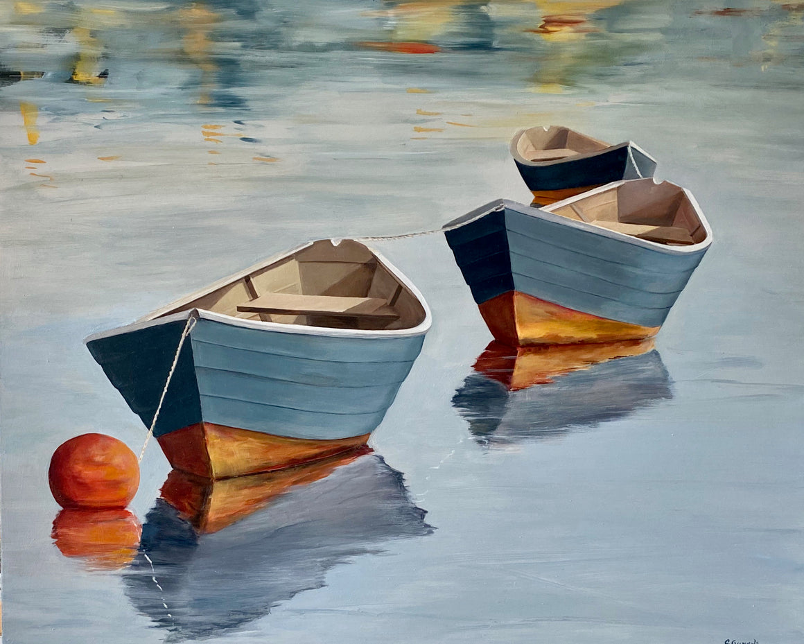 Three Dories, original oil painting