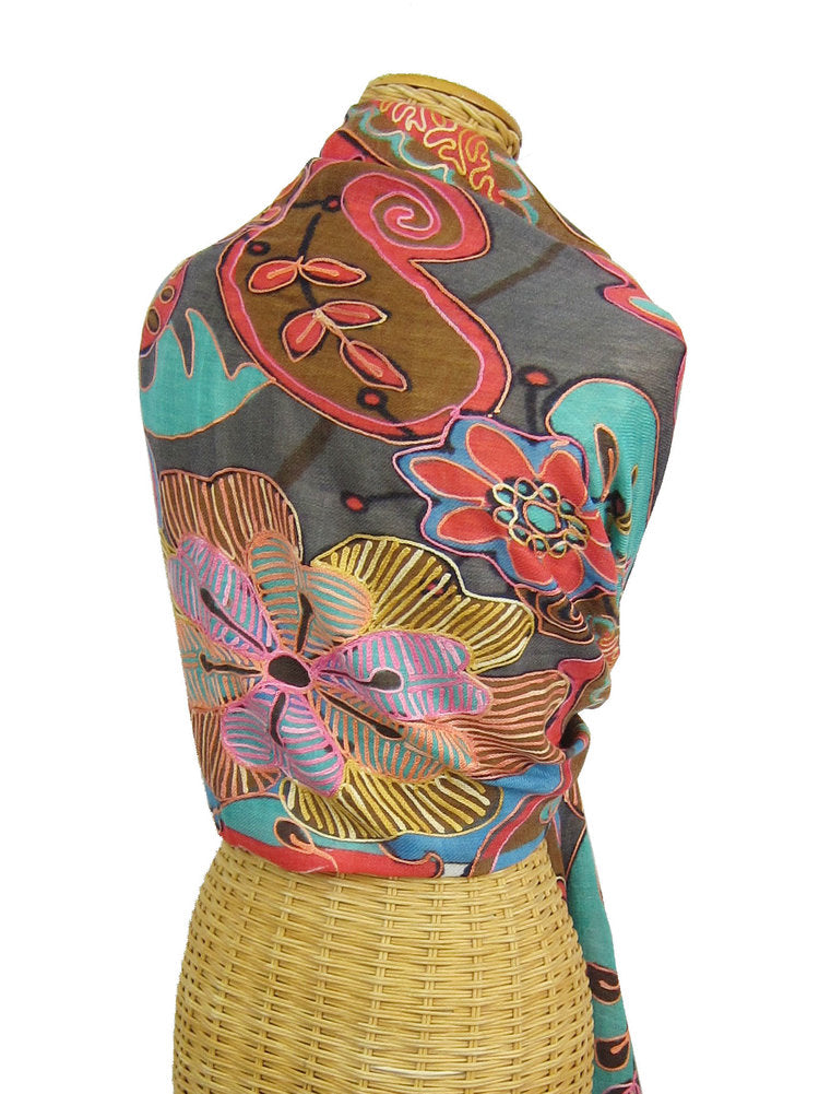 Floral Embroidered Wool Scarf
