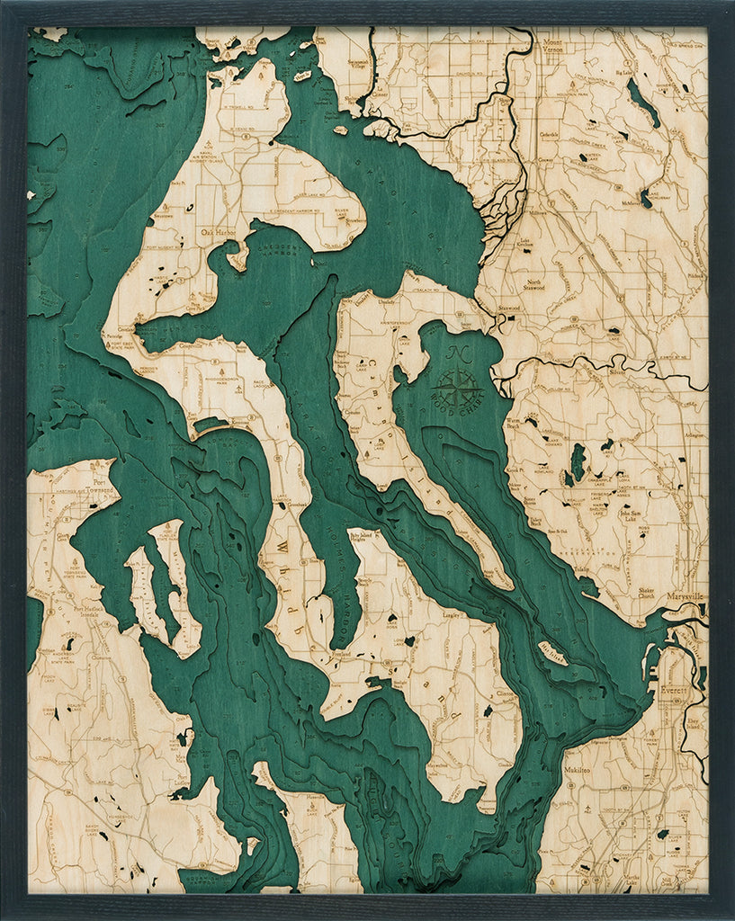 Whidbey & Camano Islands Wood Chart Map
