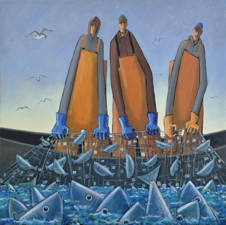 three fishermen oil painting by david witbeck