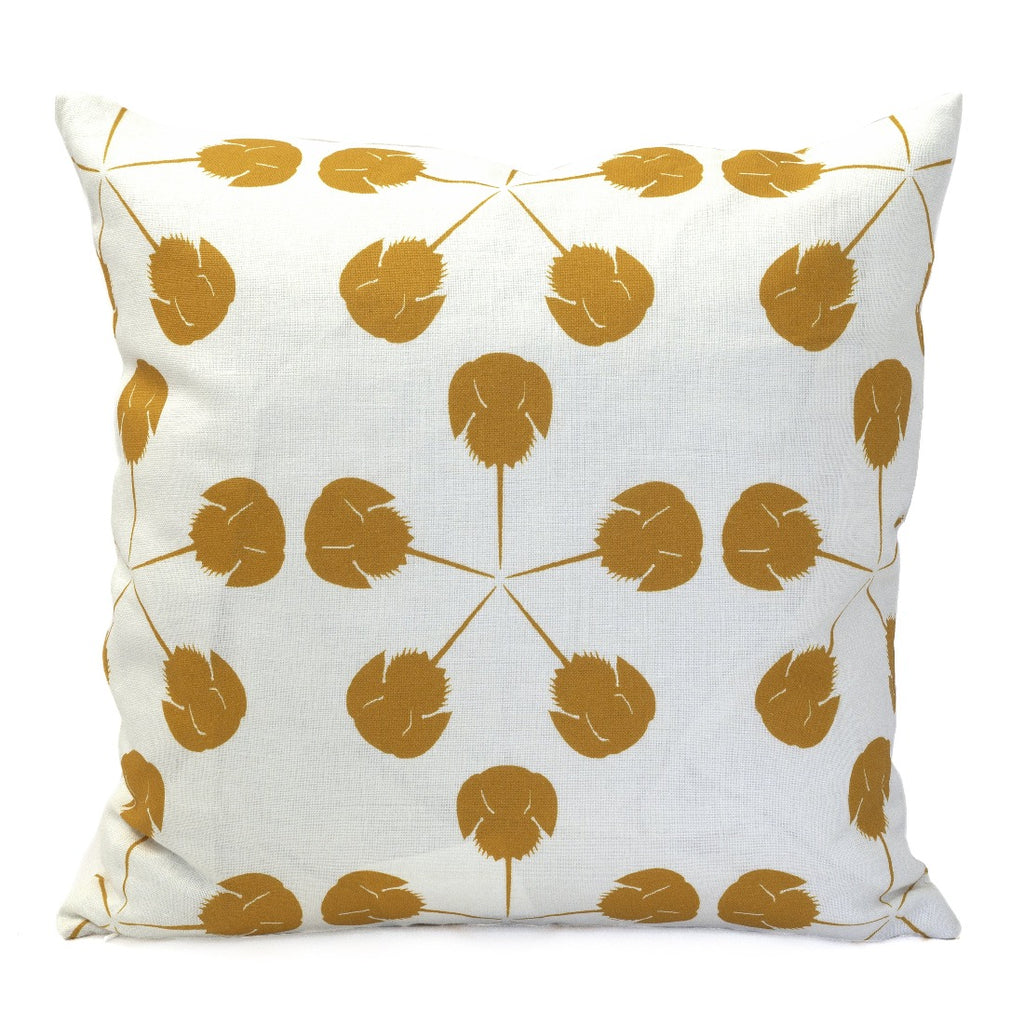 Large Horseshoe Crab Pillow, Oyster Linen