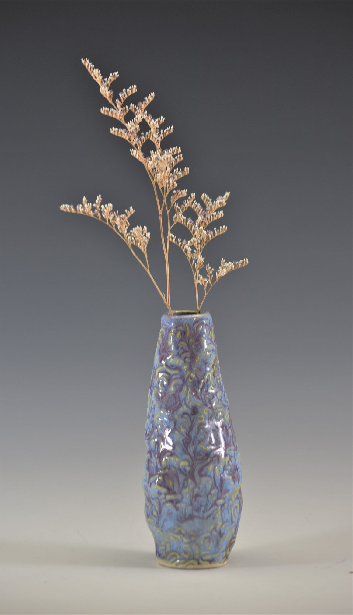 Swirls Bud Vase in light blue and lavender