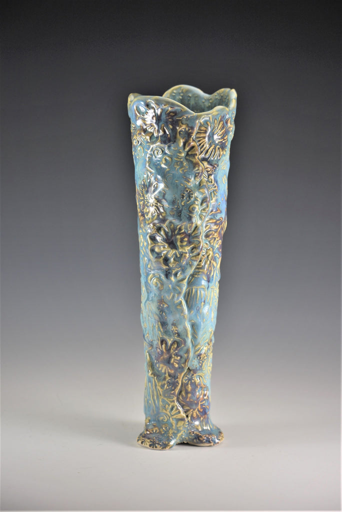 Vase in Aqua, Blue and Merlot