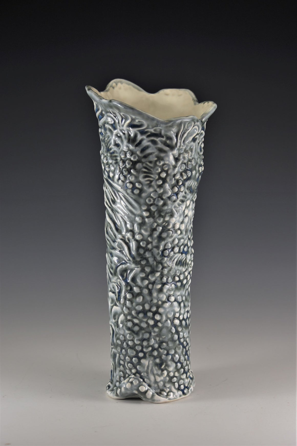 Textured Vase in Blue, Gray and White