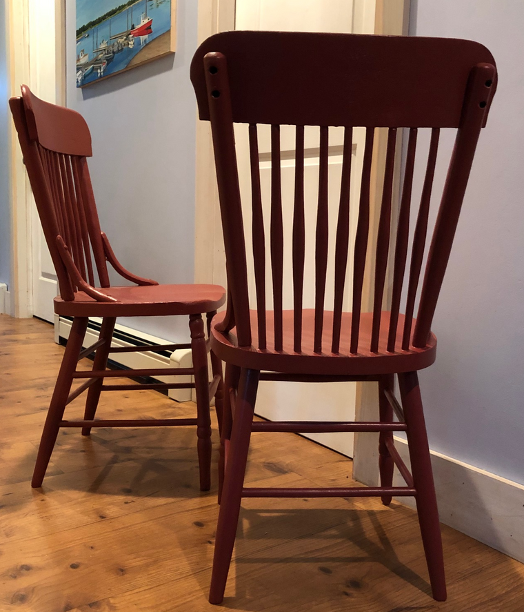 Pair of Vintage Solid Oak Chairs