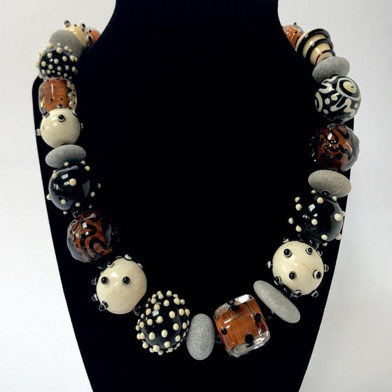 Glass Bead and River Stone Necklace