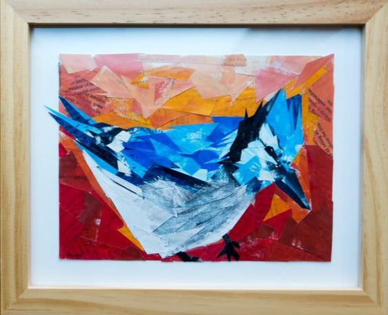 Bluejay Collage by Margo Connolly-Masson