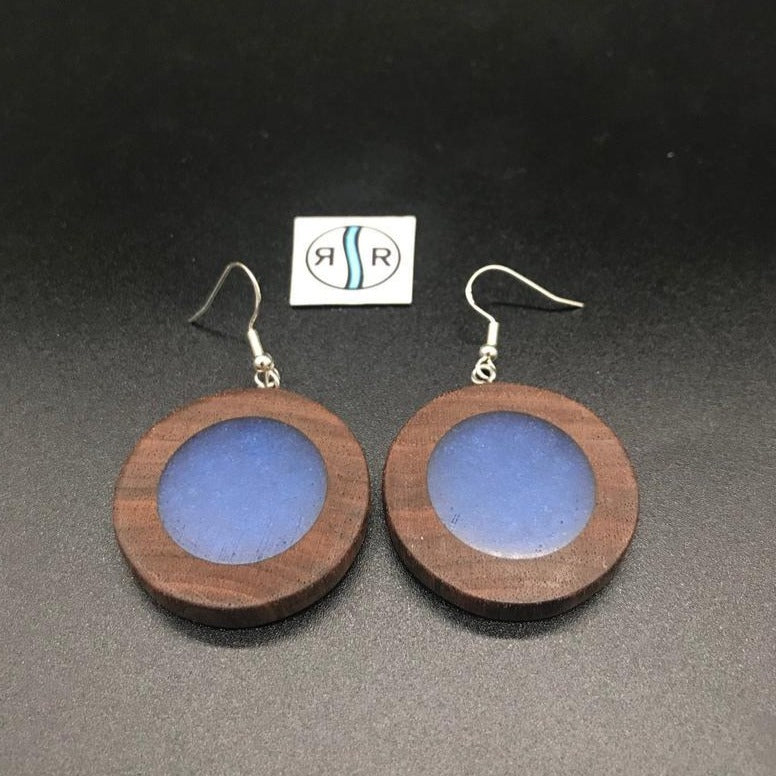 Wood Resin Earrings, Blue, Round